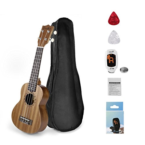 OUTAD - Ukulele soprano da 21' per principianti con starter kit e borsa di trasporto, accordatore, colore: marrone