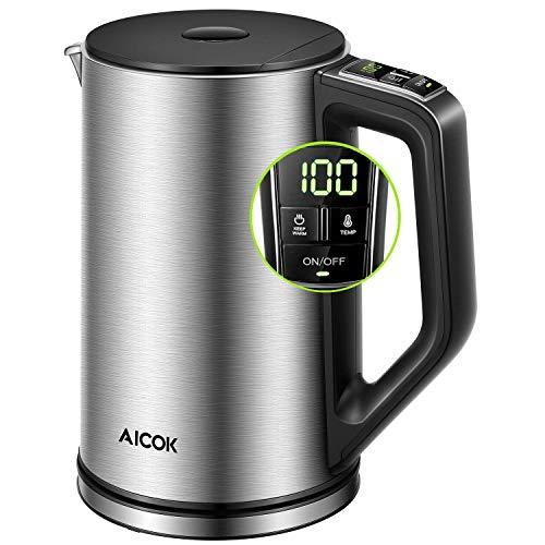 Elektrischer Wasserkocher, verstellbarer Temperatur Wasserkocher Aicok, doppelter Hitzeschutz aus Edelstahl, BPA Free, automatische Abschaltung, mit LED-Beleuchtung und Thermometer, 1,5 l, 2200 W