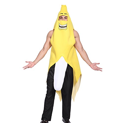 Bananenkostüm Banane Kostüm Bananenanzug FANCY DRESS Frucht Anzug Karneval Fasching Cosplay Unisex (M, #0621) (P Fancy Dress Kostüme)