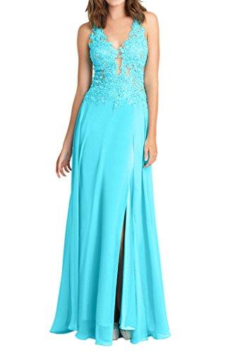 Victory Bridal Uralte Neckholder Tief V-ausschnitt spitze Abendkleider Ballkleider Formal Damenmode Blau