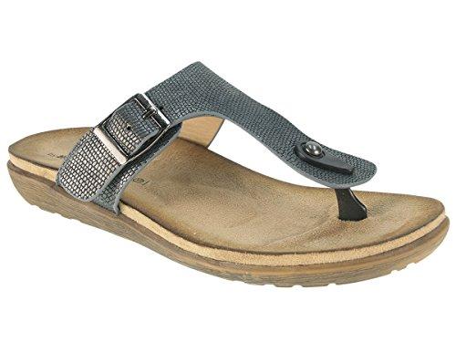 Beppi Damen ZehenTrenner mit Super Comfort Fussbett Bio Clogs Sandalen Pantoletten Slipper Silber