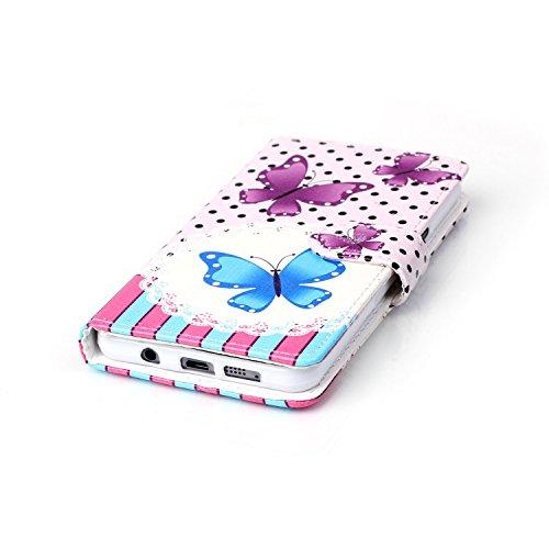 Voguecase® für Apple Iphone SE hülle ,Kunstleder Tasche PU Schutzhülle Tasche Leder Brieftasche Hülle Case Cover (Pflaumen/Hirsch) + Gratis Universal Eingabestift Pink Blau Schmetterlinge