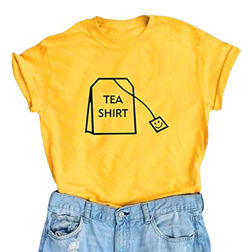 Lustige Bluse Kurzarm Baumwolle Shirts Süße Junior Graphic Tee Top Damen Kleid Lose 3/4 Ärmel Druckkleid Tunika Sommerkleider Blumen Minikleid Langarm A Linie Partykleid ()