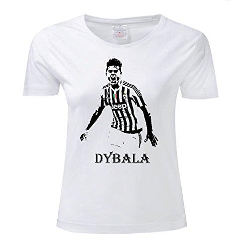 Art T-shirt, Maglietta Paulo Dybala Juventus, Donna Bianco