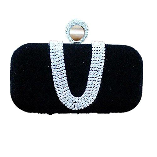 Damen Abendkleider Paket Diamantperle Abendessen Bankett Samt Handtasche Bankett-Paket Black