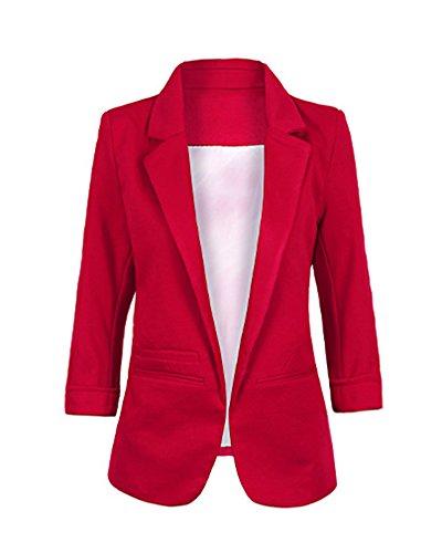 Chaqueta de Traje de Negocios para Mujer Blazers Manga 3/4 Slim Fit Elegante Blázer Vino Rojo M