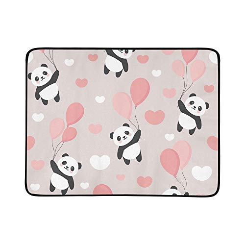 EIJODNL Panda Happy Cute Portable and Foldable Blanket Mat 60x78 Inch Handy Mat for Camping Picnic Beach Indoor Outdoor Travel 1261 Handy