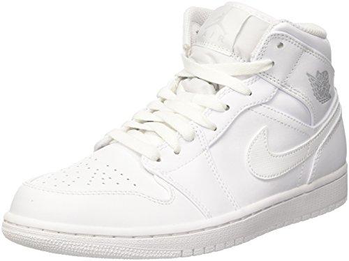 Nike Herren Air Jordan 1 Mid Basketballschuhe, Elfenbein ( Weisspure Platinum Weiss 104), 47.5 EU (High Top Jordans Schuhe)