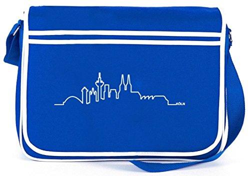 Skyline Köln, Kölle Cologne Karneval Retro Messenger Bag Kuriertasche Umhängetasche Royal Blau