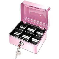 Pequeño Banco de Dinero de Metal, con Cerradura, Caja Segura Hucha con 6 Compartimientos