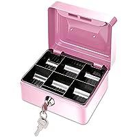 Preisvergleich für ONEVER Kleine Metall Geld Bank mit Schloss, Münze Cash Safe Box Piggy Bank mit 6 Fächern Geld Tray, Perfektes Geschenk für Kinder (Pink)
