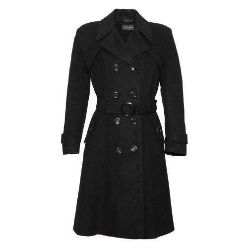 De La Crème - Wolle und Kaschmir langen Winter Gurtel Mantel - schwarz - Frau - Größe 20 48 -