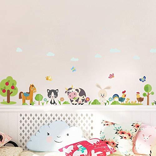 ZXCLKJH Adesivo Murale Animale,Cartoon Vacche Animali Bunny Butterfly Albero di Pollo Rimovibile Parete Impermeabile Adesivo per Camere per Ragazzi Nursery Room Decor Art Wall Decalcomanie