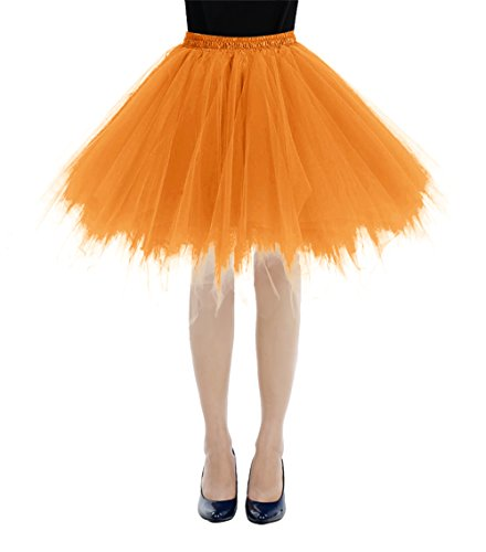 bbonlinedress Kurz Retro Petticoat Rock Ballett Blase 50er Tutu Unterrock Orange XL