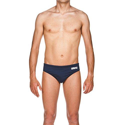 arena Herren Trainings Badehose Slip Solid (Schnelltrocknend, UV-Schutz UPF 50+, Kordelzug, Chlorresistent), Navy-White (75), 5