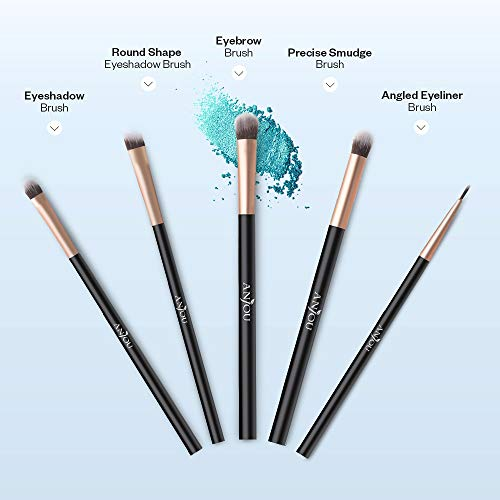 50pcs Eye Makeup Brush - Anjou 5pcs Eye Makeup Brushes X 10 Set – 2 Eye Blending Brush, 2 Eyeshadow Brush, 1 Eyeliner Brush Included in Each Set – 5 Essential Eye Brushes for Your Flawless Look