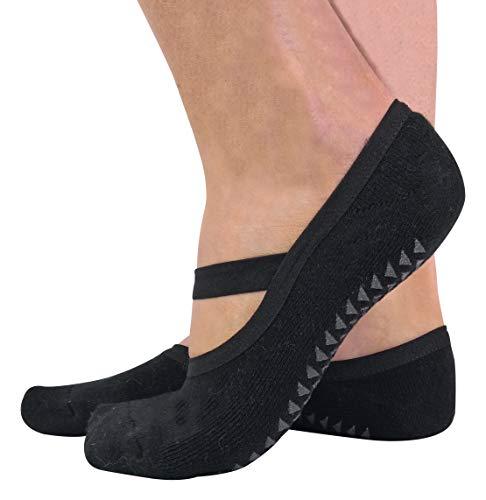 sock snob 2er Pack Damen Baumwolle Bunt Invisible Yoga Socken Füßlinge mit Antirutsch ABS Sohle und Silikon (37/42 EUR, Black) - Low Cut-2 Pack-socken