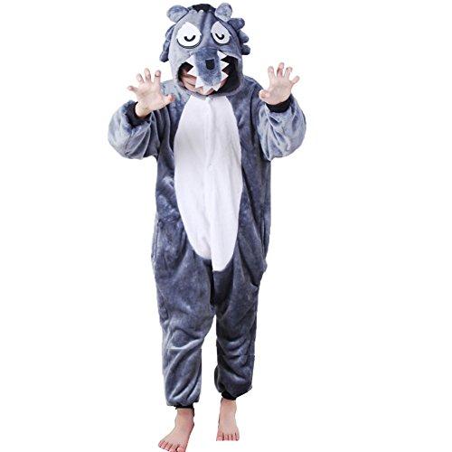 Z-chen pigiama tutina costume animale, bambina e bambino, lupo, 4-6 anni