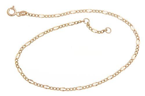 Fußkette Figaro - 2,4mm Durchmesser - 585 Gelbgold, Länge wählbar von 23-30cm
