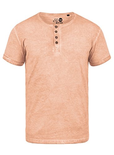 Hochwertiges T-shirt (!Solid Tihn Herren T-Shirt Kurzarm Shirt Mit Grandad-Ausschnitt Aus 100% Baumwolle, Größe:XL, Farbe:Mahog. Rose (4203))