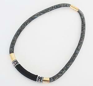 CC229 - Collier Tour de Cou Résille Tubulaire Noire avec Perles et Tube Ethnique - Mode Femme Fantaisie