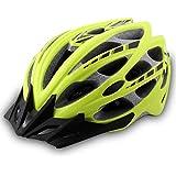 YUJIE Bike Helmet Lightweight Fahrradhelm mit Abnehmbaren Sonnenblende Mountain Road Bike Helme Für Männer und Frauen,Yellow-57-61cm