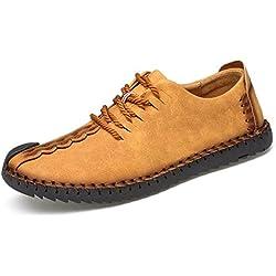 Zapatos de cuero casual de los hombres Zapatos Planos con Cordones hombre Oxford vestido mocasines zapatos de negocios hechos a mano mocasines de conducción de zapatos Amarillo 42EU