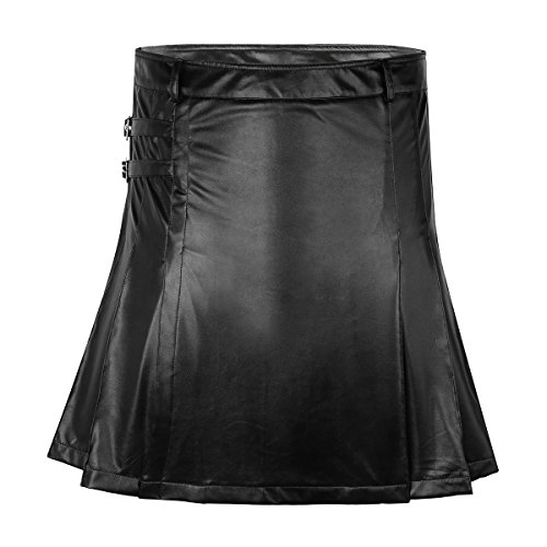 YiZYiF Schottischer Highland Kilt Wetlook Kunstleder Männer und Herren Schottenrock Lederrock Schwarz Large (Schottische Kostüm Für Erwachsene)