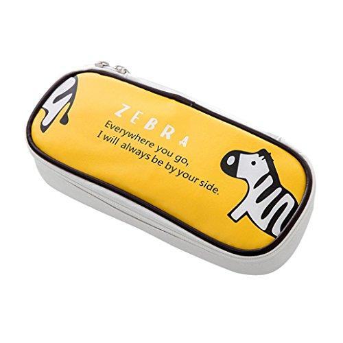 iuhan Cute Cartoon Zebra groß Storage Bleistift Case Holder Kosmetik Make-up Tasche Tasche mit Reißverschluss Stationery Organizer, A, gelb, 1 (Bleistift-beutel Mit Binder Ringen)