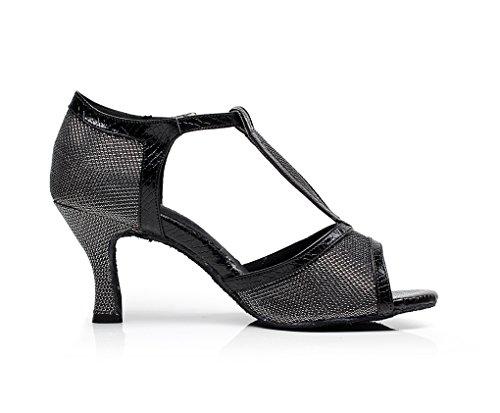 Minitoo QJ7026 femmes T-strap écoles de danse chaussures à Paillettes Noir - noir