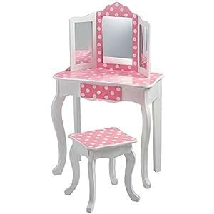 Teamson meuble coiffeuse table de maquillage enfant miroir for Coiffeuse meuble en anglais