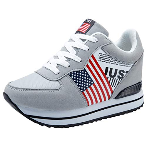SOMESUN Damen Professionell Laufschuhe Frau Mädchen Modisch Amerikanische Flagge Freizeit Sportschuhe Klassisch Elastisch Leichtgewicht Weich Atmungsaktiv Rutschfest Reise Wanderschuhe