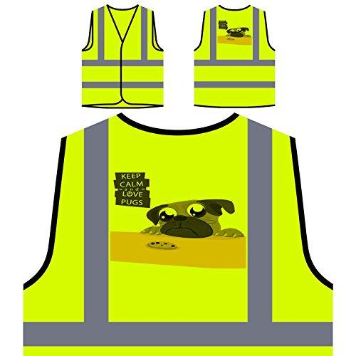 Behalten Sie Ruhige Liebe Möpse Personalisierte High Visibility Gelbe Sicherheitsjacke Weste r791v -