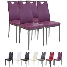 Albatros 2913 SALERNO Set de 4 sillas de comedor, púrpura
