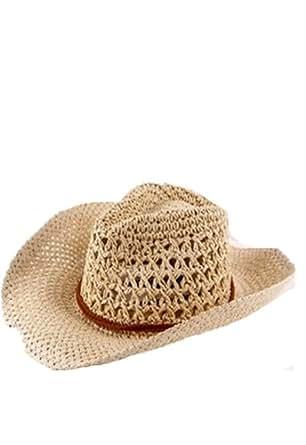 Autek cap Corée paille chapeaux de cowboy pour les hommes et les femmes ainsi que quelques grand chapeau de paille dans le chapeau du soleil de plage d'été GM (559) (beige)