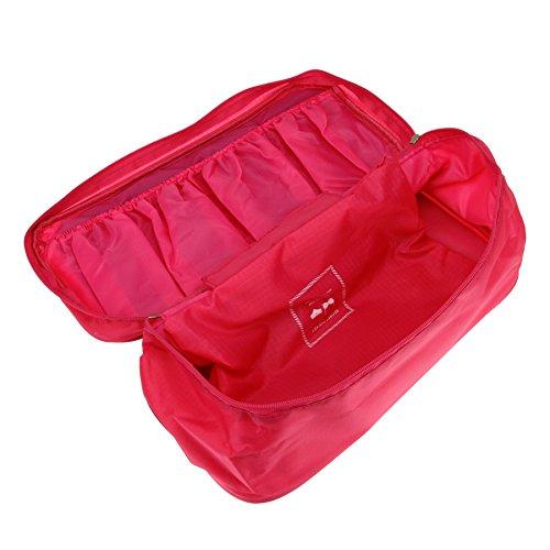 FakeFace Tragbarer Wasserdichter Unterwäsche Socken Kosmetik Organizer Reisetasche Brusthalter Tasche für Reise Camping Outdoor Aktivitäten (Grün) Rosa