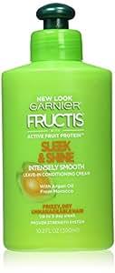 Crème revitalisante sans rinçage Garnier Fructis Sleek & Shine - Hydratation et protection anti-humidité - 300 ml