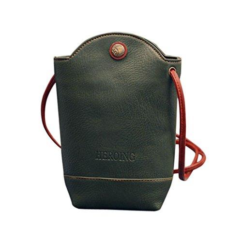 Schultertaschen Damen, Sunday Frauen Messenger Bags Schlank Crossbody Schultertaschen Handtasche Kleine Körper Taschen Kleine Magnetschnalle (11cm*6cm*20cm, Grün) (Schwarz Handtasche Uni Leder)