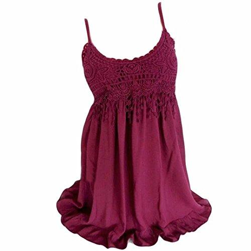 Sanfashion bekleidung camicia - con bottoni - tinta unita - a punta tonda - senza maniche - donna rot2 xxxxl