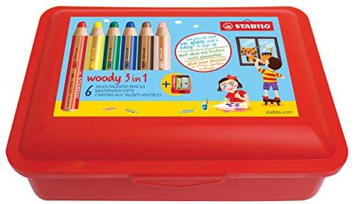 Stabilo woody 3 in 1 Box Aquarellstift Multitalent-Stift (6er Pack mit Spitzer und Aufbewahrungs-Box, Mehrfarbig) (Spitzer Box)