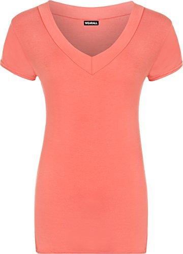WearAll - Damen Übergröße V hals kurzarm einfaches Top - 7 Farben - Größe - 44-48 Koralle