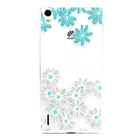 Huawei Ascend P7 Hülle Silikon,NSSTAR® Muster Schutzhülle für Huawei Ascend P7 Hülle Blume Cartoon Transparent TPU Cover Ultra Slim Bunte Silikon Soft Case Schutz Hüllen Handyhülle Back Cover Etui Schale Schutzhüllen für Huawei Ascend P7