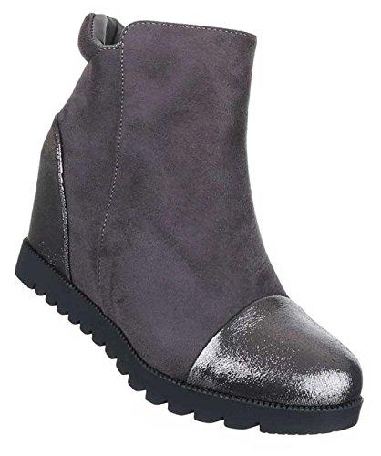 Damen Boots Stiefeletten Schuhe Keil Metallic Look Schwarz Braun Grau 36 37 38 39 40 41 Grau
