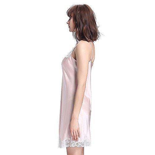 LilySilk Camicia Da Notte Di Seta Da Donna Di Pizzo Metà Lunghezza Rosa chiaro