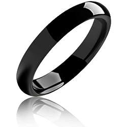 Bling Jewelry Anillo Unisex de tungsteno negro 4mm
