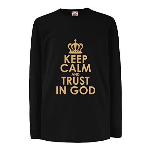 Kinder-T-Shirt mit Langen Ärmeln Vertraue Gott! Jesus Christus liebt Dich - Ostern - Auferstehung - Geburt Christi, Christliche Kleidung (5-6 Years Schwarz Gold)