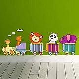 Enfants Chambre Sticker Mural Décoration de Bande Dessinée Animaux Petit Train Home...