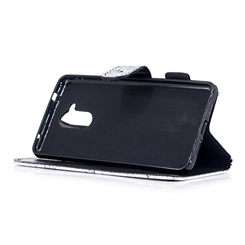 Coque en Cuir pour Huawei Honor 6C,Etsue Etui Housse Cuir Folio Portefeuille pour Huawei Honor 6C,magnétique cuir PU Wallet Support Feature Flip Protecteur Protection Portefeuille Cas Pochette pour Hu Crâne