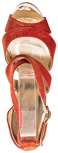 Elara Plateau Pumps | Party Stiletto High Heels | T-Strap Riemchen Glitzer Rot Highlight