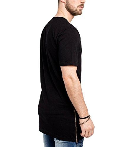 Phoenix Oversize Side Zip T-Shirt Herren Longshirt Schwarz